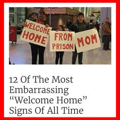 These families stopped at nothing to embarrass their family members when they were returning from flights. Including Darth Vader and a margarita bar! Funny Welcome Home Signs, Airport Welcome Signs, Welcome Home Posters, Funny Signs, Welcome Back Party, Welcome Back Sign, Christmas Stuff, Christmas Humor, Funny Airport Signs