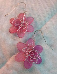Pink Flower dangle earring by JeanineHandley on Etsy, $30.00