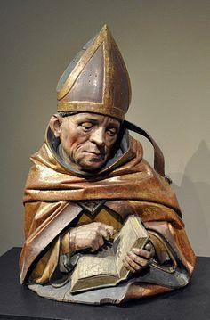 Hans Bilger: Büste eines Kirchenvaters, wohl Ambrosius von Mailand; Worms 1489-1496, Lindenholz, originale Farbfassung (barock überarbeitet) Liebieghaus, Frankfurt am Main, Inv. St. P. 119
