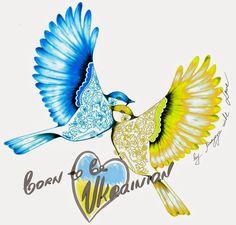 OlgaDvoryanskaya olga@pr-butik.com Fashion illustration born to be ukrainian tshirts print Ukraine sparrows birds blue yellow