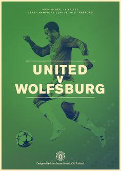 Match poster. Manchester United v Wolfsburg, 30 September 2015. Designed by @manutd