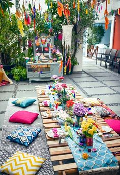 The colors and details in this Boho Tribal Birthday Party are insane! Kara's Party Ideas features the best in boho party inspiration! Bohemian Party Decorations, Garden Party Decorations, Garden Parties, Backyard Parties, Picnic Parties, Bohemian Party Theme, Bohemian Birthday Party, Boho Garden Party, Garden Picnic
