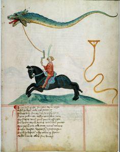 Knight Flying a Dragon as a Kite. Illumination, 1405. German School, 15th century. University Library, Gottingen, Germany .
