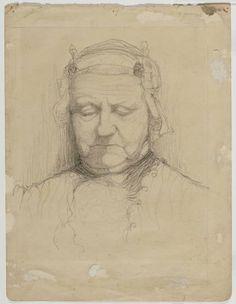 Zaanstreek. Slapende vrouw in klederdracht met Zaanse kap. potloodtekening Frans Mars. Zaans Archief #NoordHolland #Zaanstreek