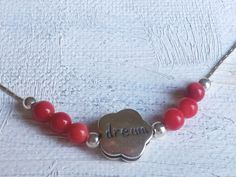 Sterling silver charm necklace dream with red corals by Bluenoemi