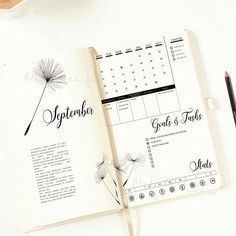 PRINTABLE Dandelion Monthly Log / Bullet Journal Insert /