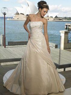 A-line  Strapless Straight Neckline  with Elegant Beading  Chapel Train Taffeta Wedding Dress