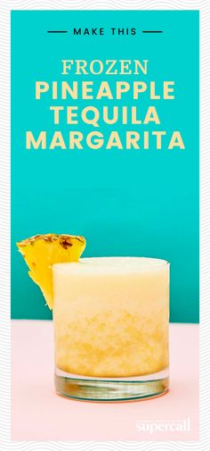 This simplified take on a Frozen Margarita is made with just three ingredients: pineapple, tequila and agave. Frozen Cocktails, Cocktail Drinks, Cocktail Recipes, Drink Recipes, Refreshing Drinks, Summer Drinks, Fun Drinks, Summertime Drinks, Alcoholic Drinks