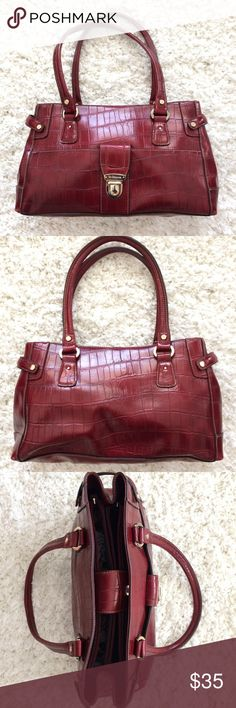 Selling this Liz Claiborne Red Faux Croc Satchel Purse on Poshmark! My username is: ksreeder. #shopmycloset #poshmark #fashion #shopping #style #forsale #Liz Claiborne #Handbags