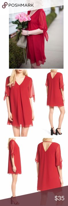 "NWT Soprano Jules Split Sleeve Shift Dress Soprano Jules Split Sleeve Shift Dress Split and knotted sleeves create a charming draped effect in this breezy shift dress that's wonderfully comfortable and cute. Color is called red wine  34"" length V-neck Elbow-length split sleeves Lined 100% polyester Made in the USA Soprano Dresses"
