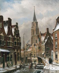 Town view with frozen canal   From a unique collection of figurative paintings at https://www.1stdibs.com/art/paintings/figurative-paintings/