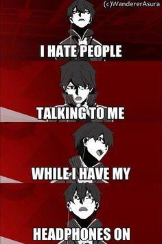 That feelings xD Anime:Mekakucity actors - BL Manga Anime Meme, Got Anime, Funny Anime Pics, Otaku Anime, All Meme, Stupid Funny Memes, Funny Relatable Memes, Haha Funny, Funny Quotes