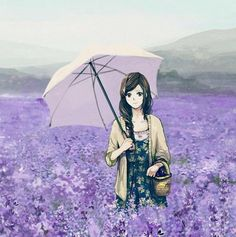 ✮ ANIME ART ✮ anime girl. . .parasol. . .mountains. . .hillside. . .field. . .flowers. . .lavender blossoms. . .nature. . .anime scenery. . .kawaii