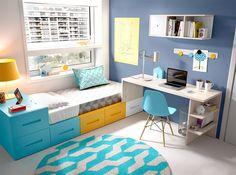 Moderno y práctico dormitorio juvenil formado por cama de 90x190 con 6 amplios contenedores y zona estudio.  Puede colocarse en posición inversa: mesa a la izquierda y cama a la derecha.