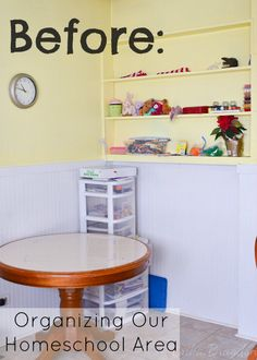 How We Organized Our Homeschool Area in one afternoon #homeschool #organization - MusingsfromaSAHM.com