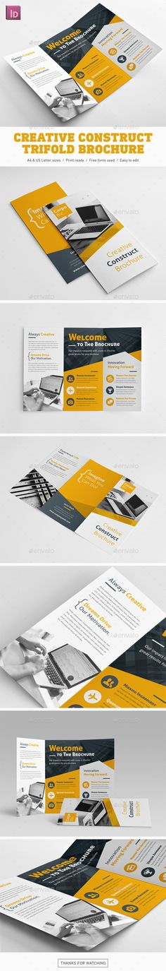 Creative Construct Trifold Brochure Template InDesign INDD