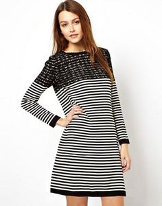 ASOS Breton Stripe Swing Dress in Knit