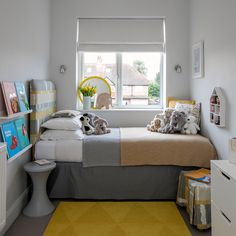- Baskets and Boxes - Take a look around this extended semi that was doubled in size Child's room June 17 Brass extended semi. Box Room Bedroom Ideas, Small Kids Room, Bedroom Design, Bedroom Layouts, Tiny Bedroom, Tiny Bedroom Design, Bedroom Decor, Bedroom Diy, Room Ideas Bedroom