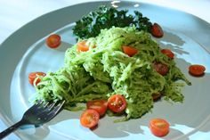 SPAGHETTI SQUASH with CREAMY KALE PESTO and GRAPE TOMATOES - recipe by Robin Asbell. Shop your favorite co-op for ingredients. www.valleynaturalfoods.com