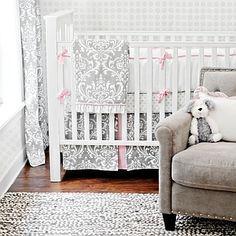 Girl's Pink and Gray Nursery Custom Baby Crib Bedding Set