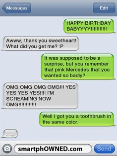Funny happy birthday text - Funny Text - - Pink Toothbrush/Mercedes Relationships Autocorrect Fails and Funny Text Messages SmartphOWNED The post Funny happy birthday text appeared first on Gag Dad.