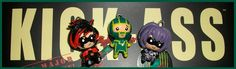 Kick ass polymer clay chibies. Red Myst, Kick-Ass and Hitgirl <3