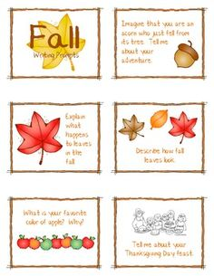 Fall Writing Prompts or story starters for a book corner quiet time