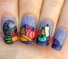 Thanksgiving Nail Art Designs, Ideas, Trends Holiday Nail Art, Fall Nail Art, Autumn Nails, Thanksgiving Nail Designs, Thanksgiving Nails, Get Nails, Hair And Nails, Fingernails Painted, Seasonal Nails