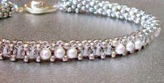beadwork bracelet pearl and crystal by beadnurse on Etsy, $50.00