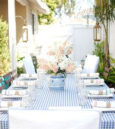 blue and white striped tablecloth