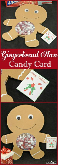This gingerbread man candy card is a sweet and adorable way to spread some holiday cheer to friends and family! AD #ziplocholidayuai