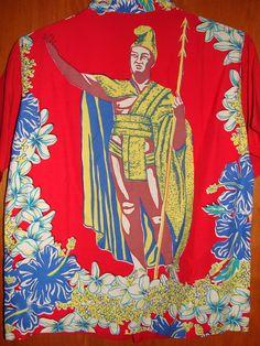 Vintage 40s Full Panel King Kamehameha Rayon Aloha Shirt - TheHanaShirtCo Vintage Hawaiian Shirts, Mens Hawaiian Shirts, King Kamehameha, Muumuu, Aloha Shirt, Princess Zelda, Skate, Surf, Fabric