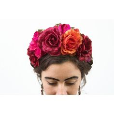 Valentines Day Flower Crown Frida Kahlo Headpiece Flower Crown Rose... ($54) ❤ liked on Polyvore featuring accessories, hair accessories, grey, weddings, wreaths, wreaths & tiaras, floral headbands, flower garland headband, tiara crown and rose flower crown