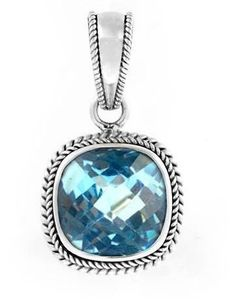 Blue Topaz Pendant Sterling Silver Gemstone Bali Design Necklace Jewelry #BaliDesign #Pendant