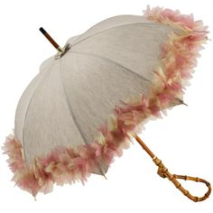 Fifi - UVP Sun Parasol by Pierre Vaux - Beige with coloured organza trim