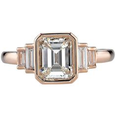 Preowned Art Deco 1.53 Carat Emerald Cut Diamond Gold Engagement Ring ($13,600) ❤ liked on Polyvore featuring jewelry, rings, green, 18k yellow gold ring, gold engagement rings, emerald cut engagement rings, pre owned diamond rings and diamond engagement rings