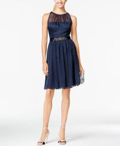 Adrianna Papell Belted Chiffon Halter Dress $159.00 Adrianna Papell's fit-and-flare frock feels dreamy with an airy chiffon overlay and a sparkling ribbon belt -- sweep back hair for an extra-romantic look!