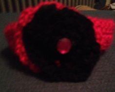 Crochet Magenta & Black Headband with Jewel by LLCatsCrochet, $7.00