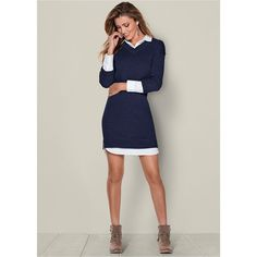 Venus Women's Collar Detail Sweater Dress ($39) ❤ liked on Polyvore featuring dresses, brown, venus dresses, blue color dress, blue sweater dress, collared sweater dress and sweater dress