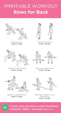 Rows for Back – WorkoutLabs.com - My favorite back workouts are rows, these six rows will help target your high to middle back <3 Back And Shoulder Workout, Back Day Workout, Gym Workout Plan For Women, Chest Workout Women, Lifting Workouts, Gym Workouts, Printable Workouts, Biceps Workout, Back And Biceps