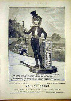 Antique Print of Ref.854 Advert Brookes Monkey Brand Soap 1897