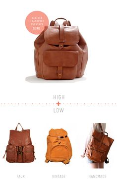 High + Low: The Leather Backpack roundup | by Julie Doan for Creature Comforts Blog
