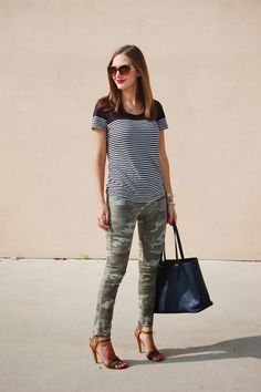 Mix it Up // Camo and stripes #patternmixing