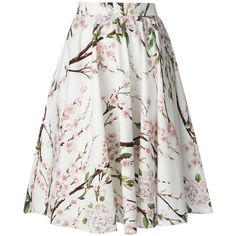 DOLCE & GABBANA floral printed A-Line skirt (£655) ❤ liked on Polyvore featuring skirts, bottoms, saias, gonne, юбки, white floral skirt, knee length skirts, high waisted skirts, a-line skirt and white knee length skirt