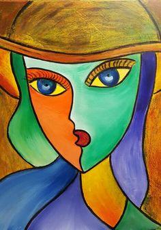 Muchacha con sonbrero 4.acrilyc on canvas