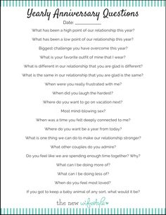 LOVE THIS! Questions to ask each year on your wedding anniversary!