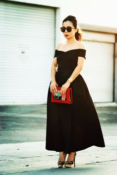 Off-the-shoulder Top: ASOS Full Skirt: Red Valentino(last seen here) Clutch: Rouge Rouge (via: HOKK Fabrica) Leopard Pumps: Charlotte Olympi...