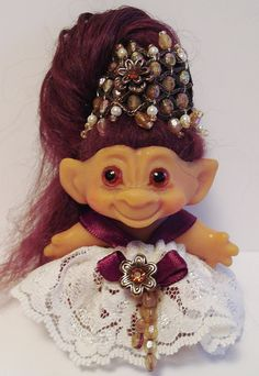 Vintage Petite c64  DAM Troll Doll Crowned Jewel by WowwyGaZowwy, $52.88