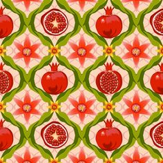 Papa's pomegranate flowers (pink) fabric by bippidiiboppidii on Spoonflower - custom fabric