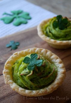 Wearing of the Green - Potatoes.  Mashed potatoes blended with delicious pesto, baked in individual tart shells.  Topped with a 4 leaf clover cut out of a spinach or basil leaf with a scrapbooking punch.
